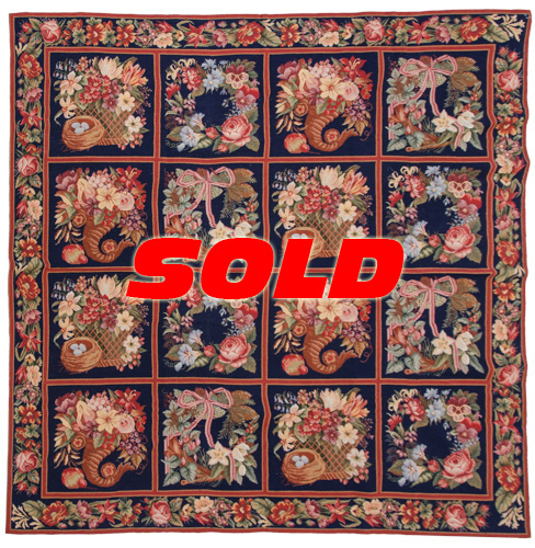 7x 7 Fine Needlepoint Square Rug – SOLD