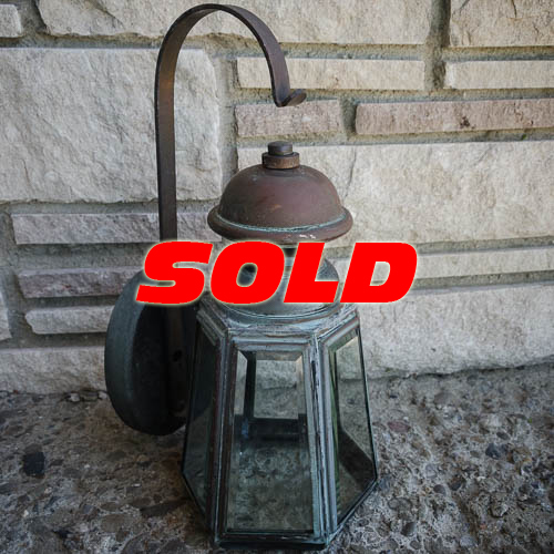 Copper Lantern Electric Lamp Sconce